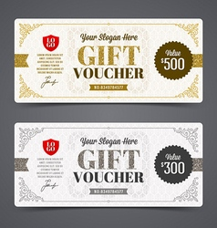 Gift voucher template with glitter gold vector image