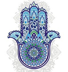 Indian hand drawn hamsa with ethnic ornamen vector