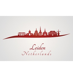 Leiden skyline in red vector