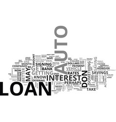 Auto loans a quick guide text word cloud concept vector