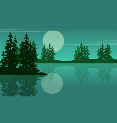 Beauty scenery lake with spruce silhouettes vector