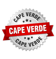 Cape verde round silver badge with red ribbon vector