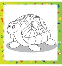 Cartoon turtle - coloring book vector