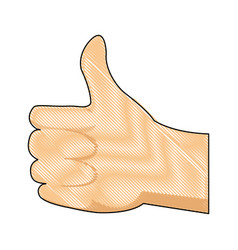 Drawing hand man ok like gesture icon vector