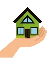 Eco house with hand icon vector