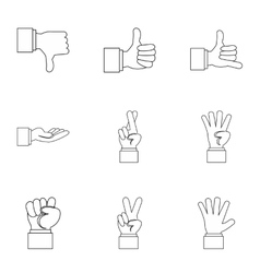 Gesture icons set outline style vector
