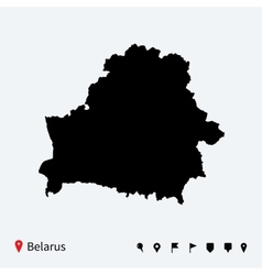 High detailed map of belarus with navigation pins vector