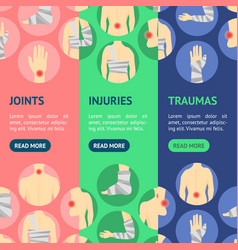 human injuries set bandage and center pain banner vector image vector image