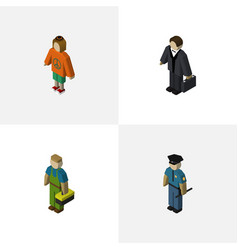 Isometric people set of officer lady investor vector