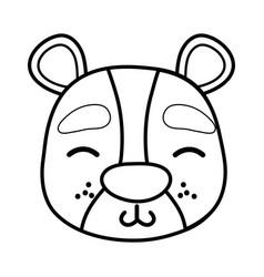 Line shy bear head wild animal vector