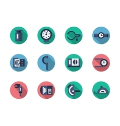 Measuring tools round flat color icons vector