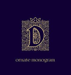 Monogram with crown d vector