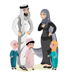 muslim family cartoon character vector image vector image