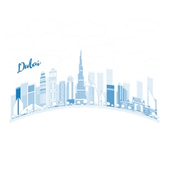 Outline Dubai City skyline with blue skyscrapers vector image