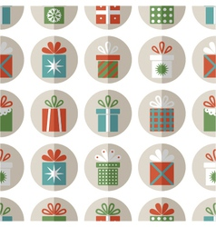 Seamless pattern of flat gift packages vector image vector image