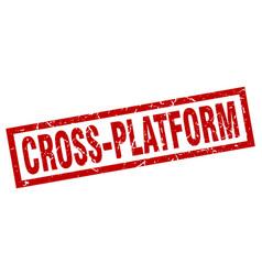 Square grunge red cross-platform stamp vector