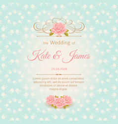 vintage wedding invitation with roses vector image vector image