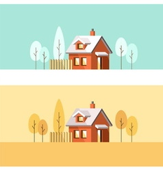 Winter and Autumn house Suburban home vector image vector image
