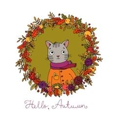 Wreath of autumn leaves cute cartoon cat vector image vector image