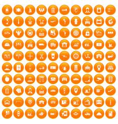 100 loader icons set orange vector