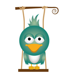 Colorful background of caricature bird on swing vector