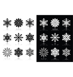 Christmas or winter Snowflakes icons vector image
