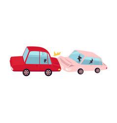 Flat cartoon car accident isolated vector