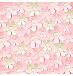 Pink background with many flowers vector