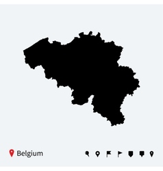 High detailed map of belgium with navigation pins vector