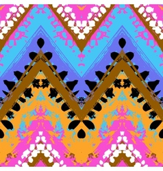 Multicolor hand drawn pattern zigzag vector