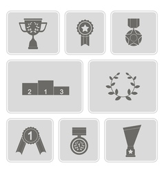 Monochrome icons with awards vector