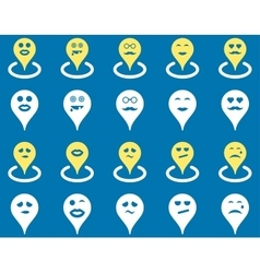 Smiled map marker icons vector