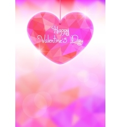 Valentines day card with precious heart on light vector