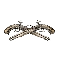 Crossed vintage pistols hand drawn sketch ancient vector