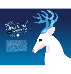 Merry christmas and happy new year card with deer vector