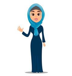 arabic woman waving hand saying hello cute vector image vector image