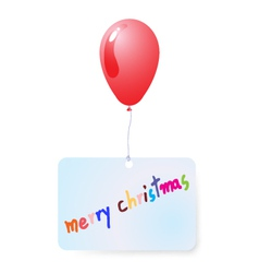 Balloon with merry christmas tag vector