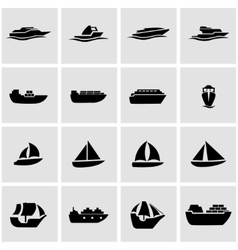 black ship and boat icon set vector image vector image