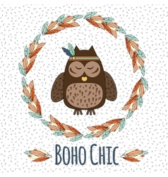 Boho owl in feather wreath in hand drawn style vector