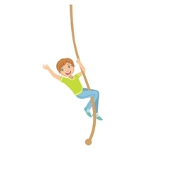 Boy climbing a rope in physical education class in vector