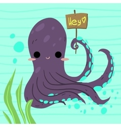 Cartoon funny octopus flat icon vector image vector image