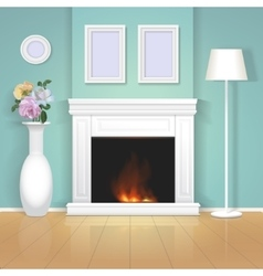 Classic interior wall with fireplace vector