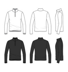 Clothing set of long sleeved t-shirt with zipper vector