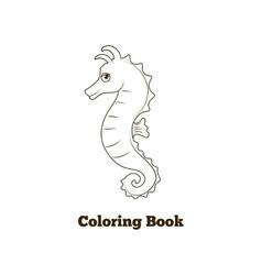 Coloring book sea horse fish cartoon vector