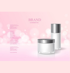 Cosmetic pink bottle package design with cream vector