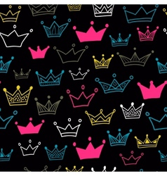 Crown seamless pattern on black background Bright vector image