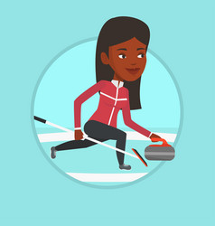 curling player playing on the rink vector image vector image