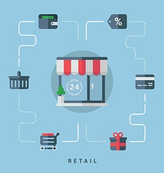 Flat conceptual retail shop with shopping icons vector