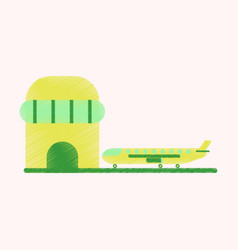 flat icon in shading style plane at the airport vector image