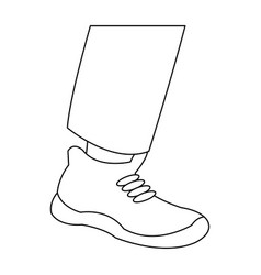 Foot male with shoe design outline vector